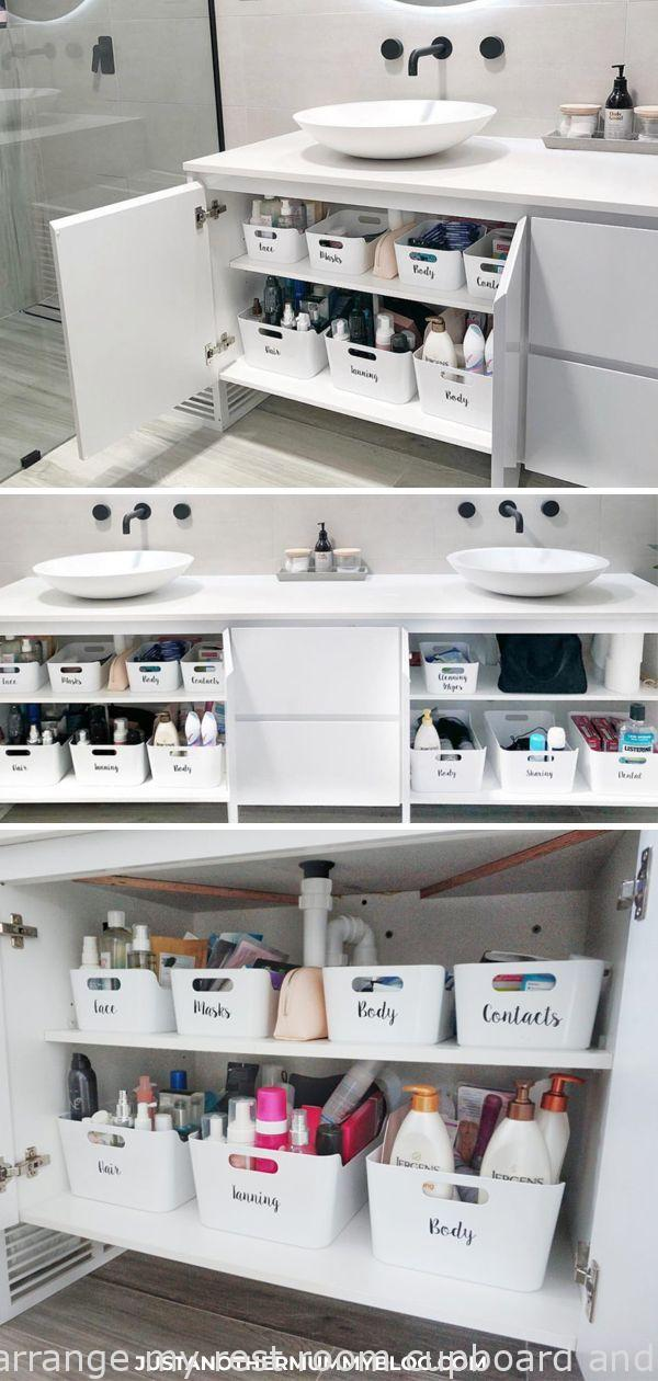 Here's how I organize my bathroom cupboard and under the sink! #organization #ba...