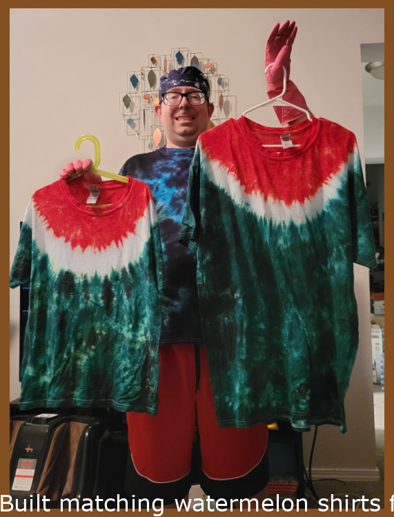 Made matching watermelon shirts for me and my son before we go on vacation