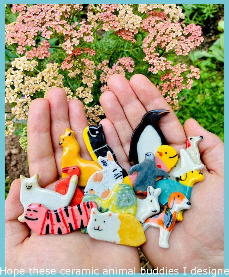Hope these ceramic animal friends I made can brighten your day even if it's just a little bit!!☀️😊