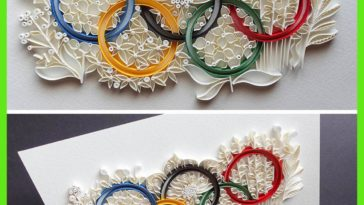 I made the Olympics Symbol out of paper strips! :)
