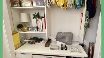 I've been wanting a space to work and store my crafts. Last week I decided to take the sliding doors off our guest closet to create this. Behold: my crafty corner! Curtains installed to hide the space when guests are over.