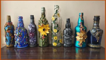 My sister gives a new life to old booze bottles.